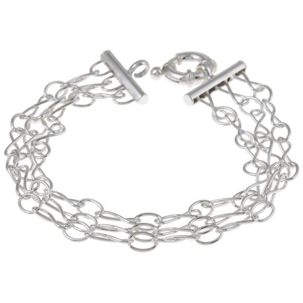 La Preciosa Sterling Silver 3-strand 'Figure 8' Link Bracelet