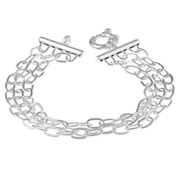 La Preciosa Sterling Silver 3-strand Oval Link Bracelet