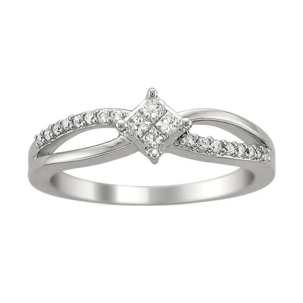Montebello 14k White Gold 1/4ct TDW Princess Diamond Ring (H-I, I1)
