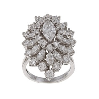 Platinum 4 1/4ct TDW Diamond Large Cluster Estate Ring (H-I, VS1-VS2)