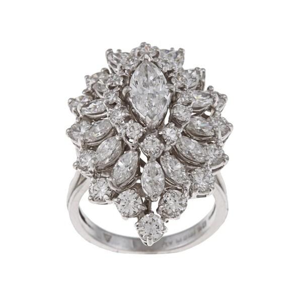 Platinum 4 1/4ct TDW Diamond Large Cluster Estate Ring (H-I, VS1-VS2)