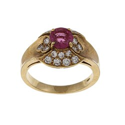 18k Yellow Gold 5/8ct TDW Diamond and Ruby Estate Ring (J-K, SI1-SI2)