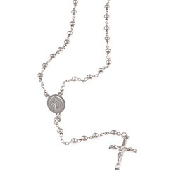 La Preciosa Sterling Silver Rosary Bead and Cross Necklace