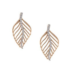 La Preciosa Sterling Silver and Rose Gold Cubic Zirconia Leaf Earrings