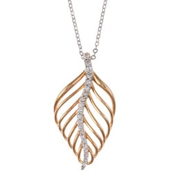 La Preciosa Rose Goldtone Silver Cubic Zirconia Leaf Necklace