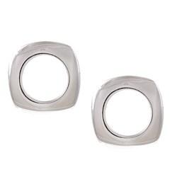 La Preciosa Sterling Silver Open Square Stud Earrings