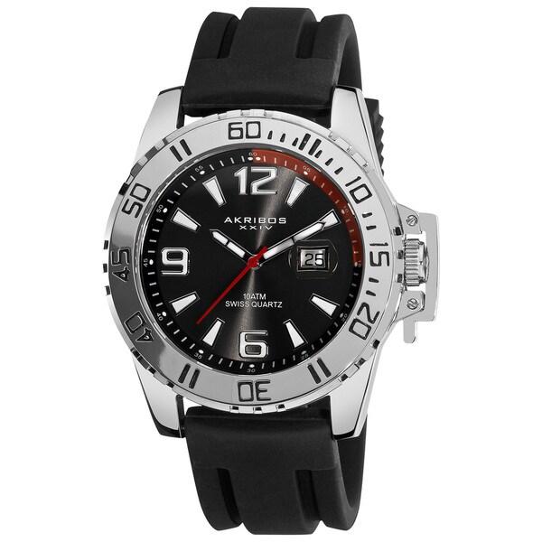 Akribos XXIV Men's Black Swiss Quartz Sport Watch