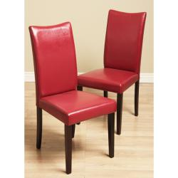Warehouse of Tiffany Shino Red Faux Leather Dining Chairs (Set of 2)