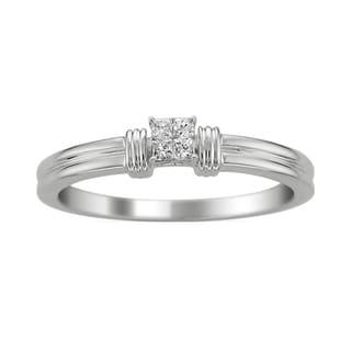 14k White Gold 1/10ct TDW Princess Diamond Ring (G-H, I1)