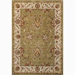Hand-tufted Mandara Oriental Green Wool Rug (9' x 13')