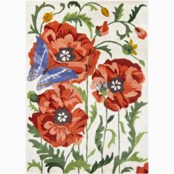 Hand-tufted Mandara Floral Wool Rug (9' x 13')