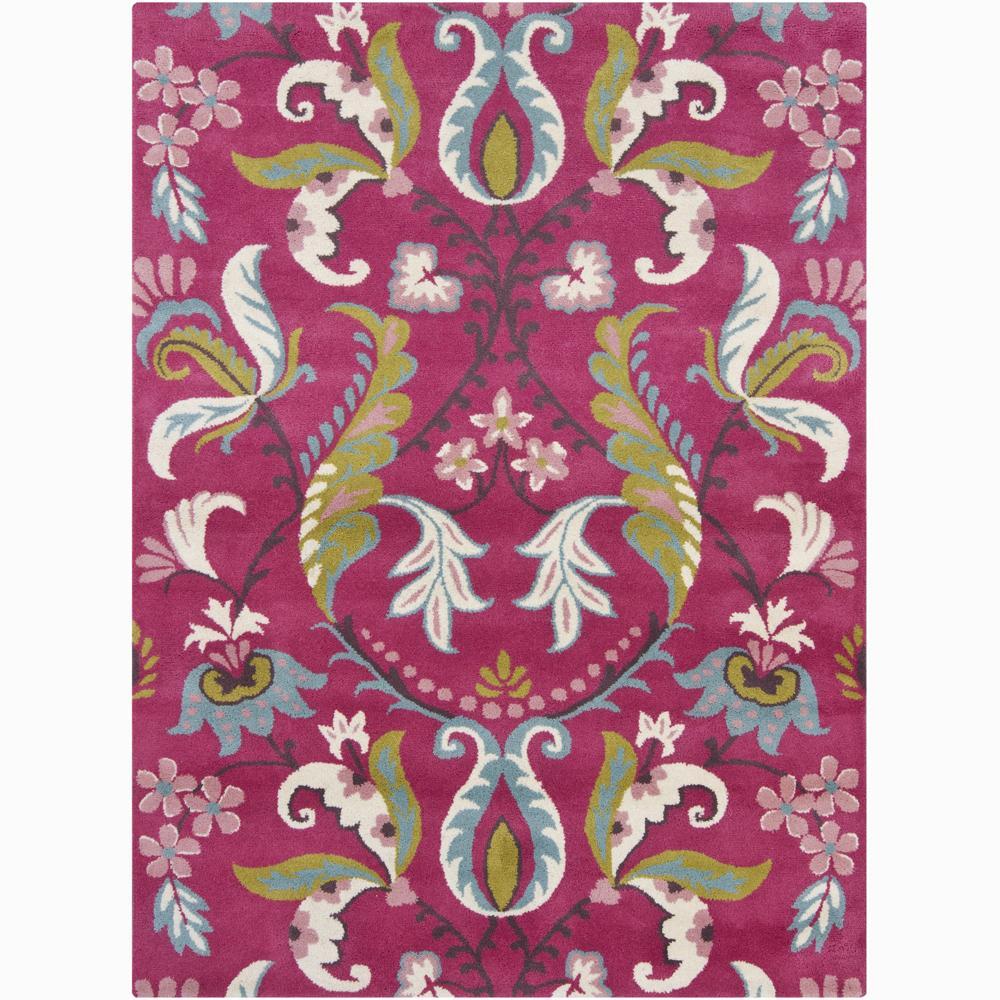 Hand-tufted Mandara Pink Floral Wool Rug (9' x 13')