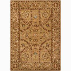 Hand-tufted Mandara Oriental Brown Wool Rug (9' x 13')