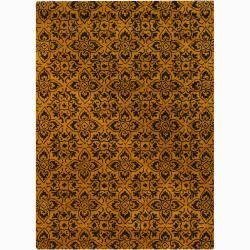 Hand-tufted Mandara Gold Wool Rug (9' x 13')