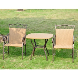 International Caravan Valencia Resin Wicker/ Steel 3-piece Bistro Set