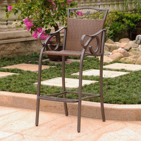 International Caravan Valencia Resin Wicker/ Steel Bar-height Bistro Chairs (Set of 2)