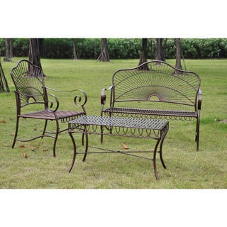 International Caravan Sun Ray 3-piece Iron Settee Set