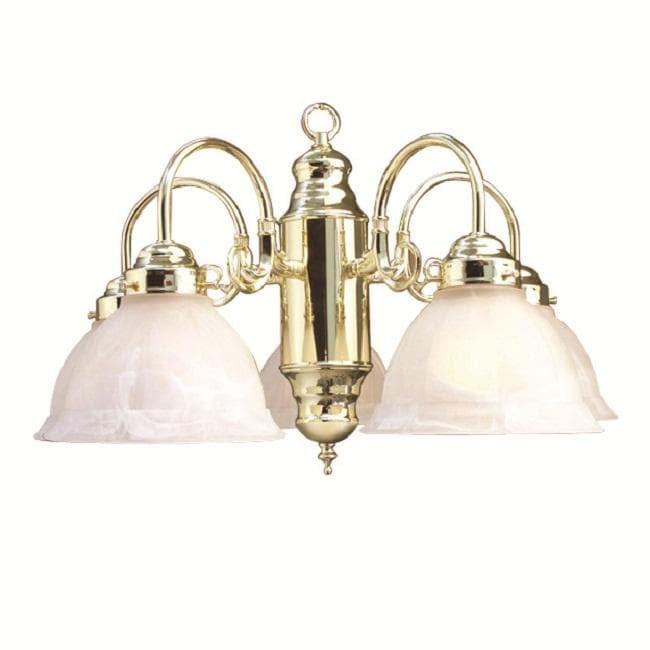 Woodbridge Lighting Basic 5-light Polished Brass Marble Glass Chandelier