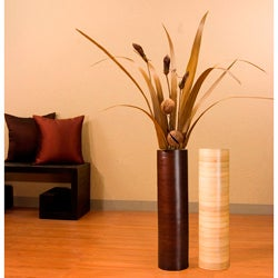 Palm Leaves with 27-inch Bamboo Cylinder Vase