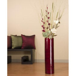 Burgundy Sword Lilies with 27-inch Bamboo Cylinder Vase