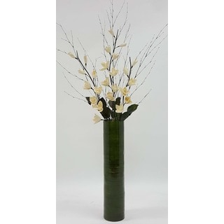 Ivory Lilies with 25-inch Bamboo Floor Vase