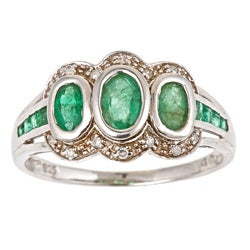 D'Yach Sterling Silver Emerald and 1/10ct TDW Diamond Ring (G-H, I1-I2)