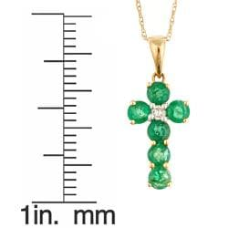 Anika and August 14k Yellow Gold Emerald and Diamond Accent Fashion Necklace