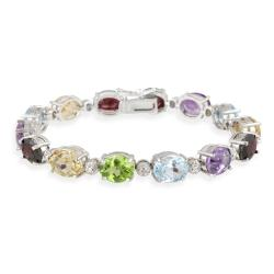 Glitzy Rocks Silver 24 1/2ct TGW Multi-gemstone and Diamond Bracelet