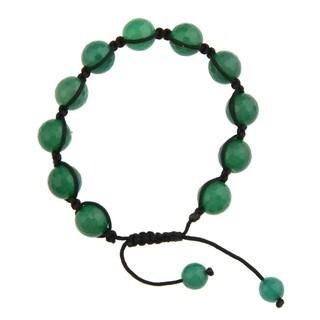 Dolce Giavonna Green Agate Bead Black Macrame Bracelet