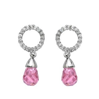 Collette Z Sterling Silver Pink and White Cubic Zirconia Earrings
