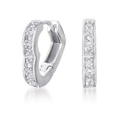 Collette Z Sterling Silver Clear Cubic Zirconia Heart-shaped Hoop Earrings