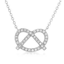Collette Z Sterling Silver Clear Cubic Zirconia Pretzel-shaped Necklace