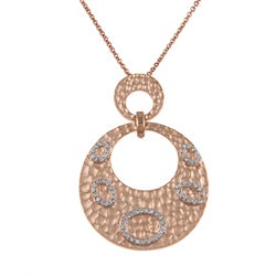 Collette Z Pink Silver Clear Cubic Zirconia Round Hammered Fashion Necklace