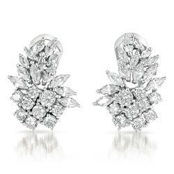 Collette Z Sterling Silver Marquise-cut Cubic Zirconia Cluster Earrings