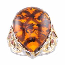 Michael Valitutti Two-tone Amber and Garnet Ring