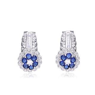 Collette Z Sterling Silver Cubic Zirconia Flower Earrings