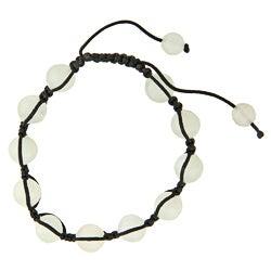 Dolce Giavonna New Jade Bead Black Macrame Bracelet