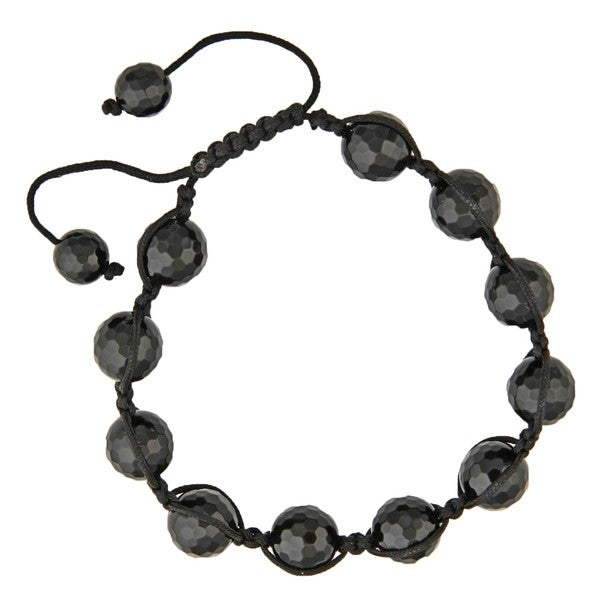 Dolce Giavonna Black Onyx Bead Black Macrame Bracelet