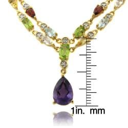 Dolce Giavonna 18k Gold over Silver Multi-gemstone and Diamond Accent Drop Necklace