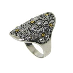 Two-tone Silver Beaded Flower Ring