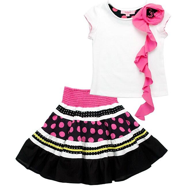 Beetlejuice London Girl's Polka-dot and Stripe Two-piece Skirt Set