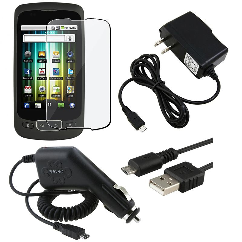 Insten Clear Screen Protector/ BasAcc Car and Travel Charger/ USB Data Cable for LG P500