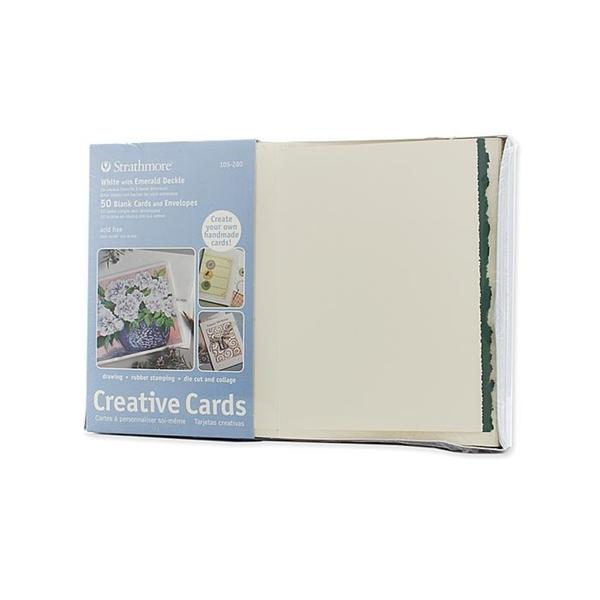 Strathmore White with Green Deckle Greeting Cards (Pack of 50)