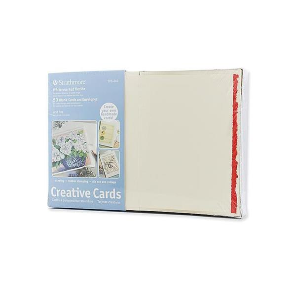 Strathmore White with Red Deckle Greeting Cards (Pack of 50)