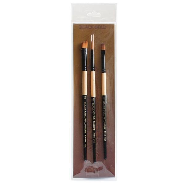 Dynasty Foliage/ Texture Black Gold Brush Set