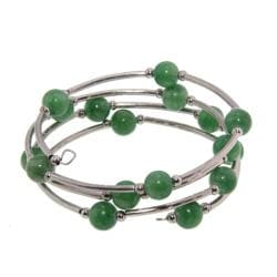 Nine-millimeter Tibetan Silver Jade Bead Bangle Bracelet (China)