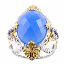 Michael Valitutti Two-tone Chalcedony and Blue Sapphire Ring