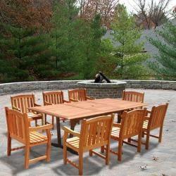 Casimir Rectangular Wood Armchair Outdoor Dining Set