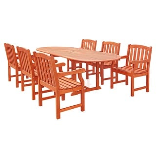 Casimir Oval Extension Table and Wood Arm Chair 7-piece Outdoor Dining Set