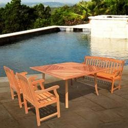 "Casimir 60"" Square Outdoor Dining Set with Bench and Two Chairs"